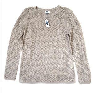NWT Old Navy Tan Crewneck Textured Sweater M
